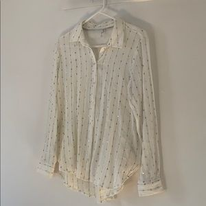 Feather Bone by Anthropologie Sequin Button Down